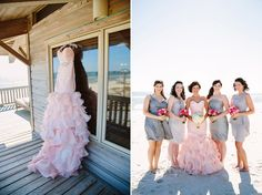 Blush Wedding Dress on the Beach via @grey_quoique Likes