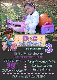 Doc McStuffins Invitation Birthday By CutePixels Mcstuffins Party 4th Parties