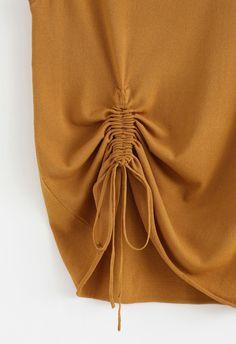 Break Free Drawstring Sleeveless Knit Top in Yellow yellow S-M Kurti Sleeves Design, Sleeves Designs For Dresses, Dress Neck Designs, Sleeve Designs, Frock Patterns, Baby Girl Dress Patterns, Stylish Sarees, Stylish Dresses, Shagun Blouse Designs