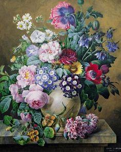 A Rich Still Life of Summer Flowers: Victorian watercolour painting by the artist Camille De Chantereine 1847