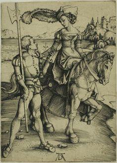 Albrecht Dürer - Lady on Horseback and Lansquenet, c. 1497 | The Art Institute of Chicago