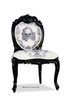I love the mix of gothic victorian with punk print. This chair would totally fit into my waiting room.