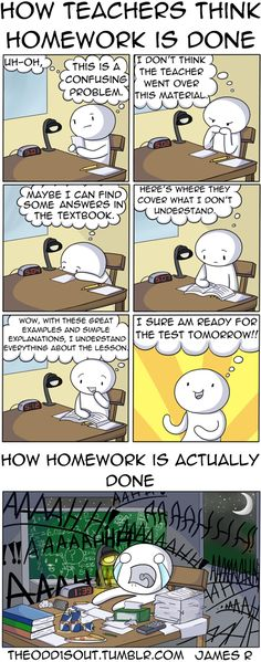 How teachers think homework is done vs. how it actually is done - Imgur