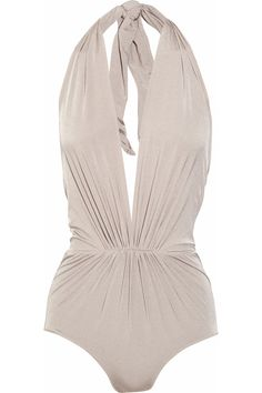 @Katie Thomas you would rock this..... | Clube Bossa | Ruched plunge-front halterneck swimsuit | NET-A-PORTER.COM