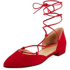 Stuart Weitzman Gilligan Velvet Lace-Up d'Orsay Flat ($223) ❤ liked on Polyvore featuring shoes, flats, red, ankle strap d orsay flats, red flats, red pointed toe flats, red ankle strap flats and self tying shoes