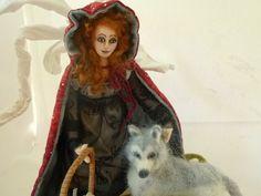 Red art cloth doll needle felt grey wolf by ConchyGemDolls on Etsy, $120.00
