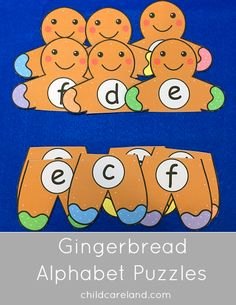Gingerbread alphabet puzzles for number recognition and review.  I made upper to upper ... lower to lower ... upper to lower.  I also made them with both color and white hands and feet.