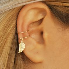 DOUBLE WRAP CUFF Leaf Ear Cuff Ear Cuff Fake by Benittamoko