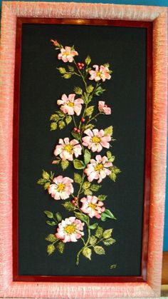 """Picture """"Rosehip on black"""", embroidered handmade  technique """"Silk ribbon embroidery"""""""