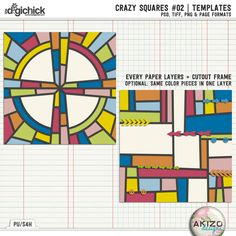 Crazy Squares #02 | Templates by Akizo Designs  Includes the png, psd, tiff and page file formats.  On sale at 30% off at The Digichick