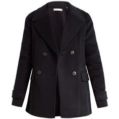 Vince Wool and cashmere-blend pea coat ($327) ❤ liked on Polyvore featuring outerwear, coats, jackets, navy, navy pea coat, vince coat, double-breasted wool coat, double breasted woolen coat and pea jacket