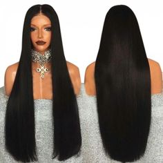 Ultra Long Middle Part Straight Synthetic Lace Front Wig
