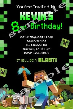 Cute Minecraft Party Invitation!