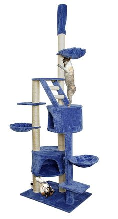 "NEW! 101"" Blue White Cat Tree Play House Tower Condo Furniture Scratch Post Basket *** Details can be found by clicking on the image. (This is an affiliate link and I receive a commission for the sales)"