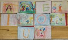 la storia delle #vocali e il #gestoeuritmico in #primaclasse, ecco i bellissimi #disegni dei #bambini! #scuolasteineriana #scuolawaldorf #alfabeto #euritmia #pedagogiawaldorf  #vowels and the corresponding #eurythmicgesture in #firstgrade, here the beautiful #drawings! #waldorfschool #steinerschool #abc #eurithmy #waldorfeducation