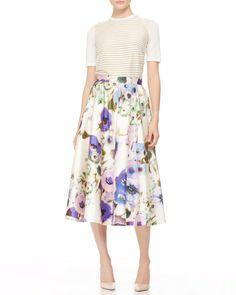 Lela Rose Floral Full Floral Midi Skirt