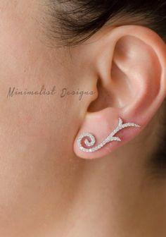 Ear Jacket Sterling silver Two Ear jackets by MinimalistDesigns Ear Jewelry, Rhinestone Jewelry, Cute Jewelry, Diamond Jewelry, Gold Jewelry, Wedding Jewelry, Jewelry Accessories, Jewelry Design, Jewellery