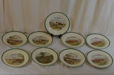 "Spode The Hunt 10.5"" Inch Dinner Plate Set Of 9 J.H. Herring Copeland"