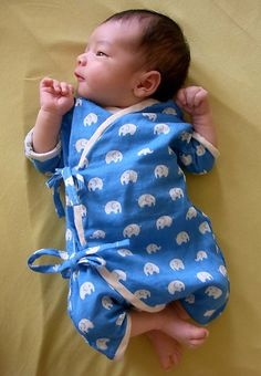 Baby Kimono with Japanese fabric , elephant print in Blue, Yellow, and Pink / Newborn - 3 month