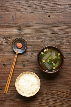 Japanese rice and miso soup, with umeboshi