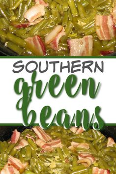 Southern Green Beans made with bacon and cooked until soft, these are a family favorite and kid-favorite! And so easy to make. Add these to your holiday or weekly menu and you'll watch them disappear! Ham And Green Beans, Southern Green Beans, Southern Greens, Side Dish Recipes, Dishes Recipes, Fun Recipes, Delicious Recipes, Keto Recipes, Thanksgiving Side Dishes