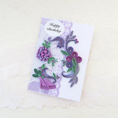 Birthday Quilled Card, Paper Quilling Roses, Personalized Mom,Daughter, Doily, Purple Lilac, Lavender, Floral Art Special Friend, Lace Card,