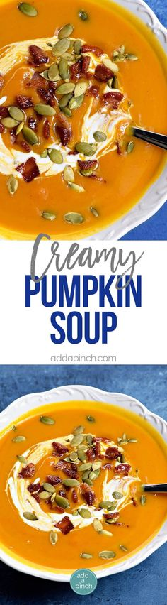 Creamy Pumpkin Soup Recipe - This classic pumpkin soup recipe is creamy, dreamy and made without cream! Quick and easy, this pumpkin soup comes together in a snap for simple weeknight or when entertaining through the holidays! // addapinch.com