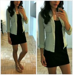 love everything about this outfit! lbd + denim shirt = classy