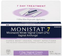 Monistat 7 Vaginal Antifungal Cream with Disposable Applicators, 1.59-Ounce Tube by Monistat. $10.27. Seven ultra-slim disposable applicators with a tube of miconazole nitrate cream (2%) to cure your yeast infection.