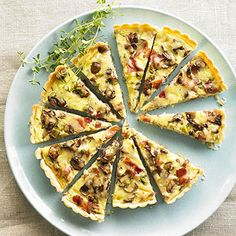 Bacon-Mushroom Quiche with Gruyere and Thyme Maximize the mushroom flavor in this quiche by using shiitake mushrooms, oyster mushrooms, or cremini mushrooms.