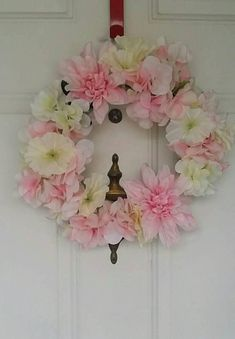Spring Easter pink and white floral wreath made of silk flowers very pretty Nursery wreath wedding wreath Wedding Wreaths, Easter Wreaths, How To Make Wreaths, Silk Flowers, Flower Arrangements, Floral Wreath, My Etsy Shop, Nursery, Spring