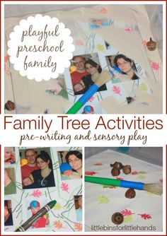 All About My Family Tree Activity For Kids Sensory Play and Pre-Writing for #PlayfulPreschool  Hands-On Playful Preschool Fall Learning I am so excited to be a part of a great team of educators and moms joining together to bring all of you amazing playful preschool activities each week. Each ...