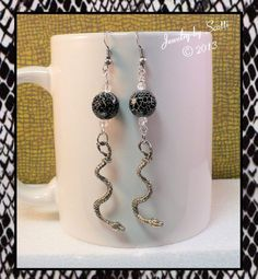 Black Snakeskin Pattern Antique Silver Snake by JewelryByScotti, $15.00