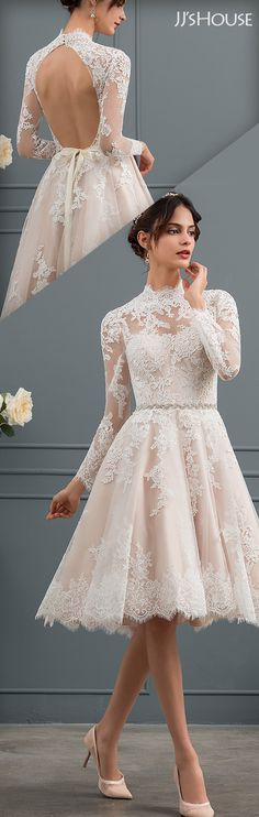 High Neck Knee-Length Lace Wedding Dress #JJsHouse #WeddingDresses