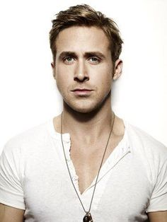 Ryan Gosling open henley necklace accessory headshot