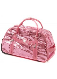LYDC London Candy Pink Moc Snakeskin Wheeled Trolley Holdall
