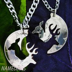 Stag and Doe necklace relationship cut on a half dollar interlocking set on Etsy, $54.99