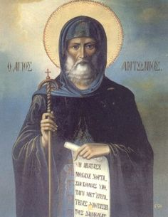 """January 17 - Saint Anthony The Great """"O Lord, you are the hope of believers and the One awaited by the righteous and just. You grant favors to those who implore you, and exalt your elect and the. Catholic Religion, Catholic Art, Catholic Saints, Religious Art, Religious Icons, Early Christian, Christian Life, St Athanasius, Anthony The Great"""