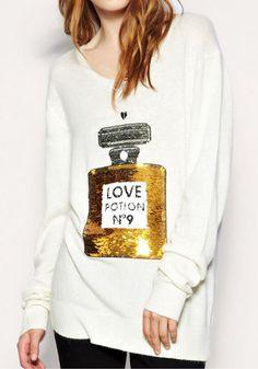 Sequins Perfume Sweater - White @LookBookStore