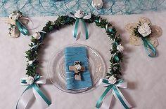 Set Ehrenplatz Ranke türkis mit Kerze und Kreuz  Kommunion Konfirmation Hochzeit