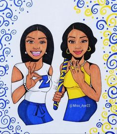 Finer Woman and Pretty Poodle Omega Psi Phi, Alpha Kappa Alpha Sorority, Zeta Phi Beta, Delta Sigma Theta, Black Fraternities, Sorority Sisters, Sorority And Fraternity, Black Women Art, Black Art
