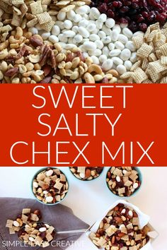 Sweet and Salty Chex Mix Recipe :: This 5 ingredient sweet chex mix will quickly become a family favorite! AND it's make a great gift too! Chex Mix Recipes, Snack Recipes, Dessert Recipes, Desserts, Sweet And Salty Chex Mix Recipe, Holiday Recipes, Christmas Recipes, How Sweet Eats, Creative Food