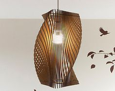 Twisted Lasercut Wooden Lampshade No.1 by baraboda on Etsy