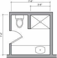 Standard 9ft x 7ft master bathroom floor plan with bath for 6x7 bathroom ideas
