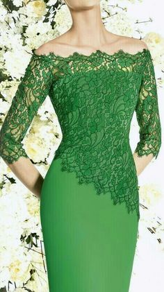 Latest African Fashion Dresses, Kebaya, Green Fashion, Shades Of Green, Dresses With Sleeves, Formal Dresses, Long Sleeve, Laundry, Bandeau Dress