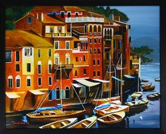 Painted as a reproduction of an existing artwork,. Portofino Italy, Italy Italy, Artwork, Rivers, Boats, Walls, Paintings, Shape, Geometric Painting