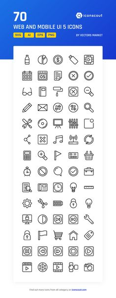 Web And Mobile UI 5 Icon Pack - 70 Line Icons