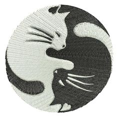 Items similar to Ying Yang Cats on Etsy Custom Embroidery, Machine Embroidery Designs, Hand Embroidery, Embroidery Ideas, Punch Needle, Pyrography, Superhero Logos, 4x4, My Design