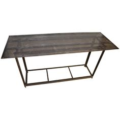 Industrial Work Table with Steel Grate Top