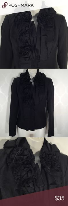 🆕NY & CO BLACK BLAZER New York & Company Black Blazer ➖ Features pleated neckline with Pretty Flowers cascading down front neckline ➖ 1 button closure ➖ fully lined ➖ Back Vent New York & Company Jackets & Coats Blazers